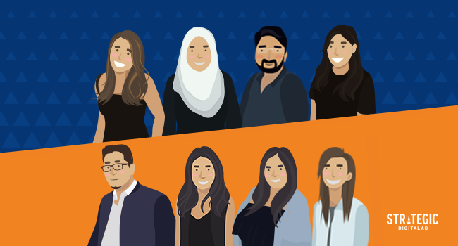 Illustration of smiling digital marketing teams